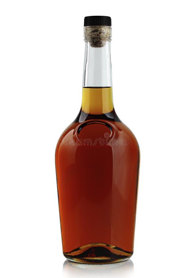De Fles van de Brandewijn van het goud en van het Leer stock afbeelding
