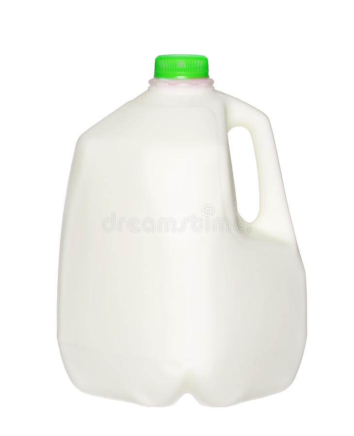 De Fles van de gallonmelk met groen die GLB op Wit wordt geïsoleerd royalty-vrije stock afbeeldingen