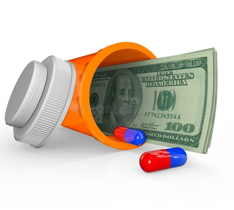 De Fles van de Geneeskunde van het voorschrift - Geld binnen vector illustratie