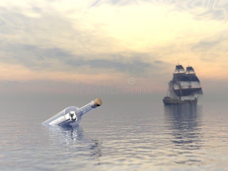 De fles van de hulp en het verlaten van boot stock illustratie