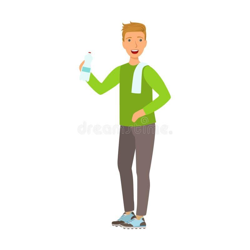 De fles van de jonge mensenholding water gekleed in sportkleding, met een handdoek op zijn schouder Kleurrijk beeldverhaalkarakte stock illustratie