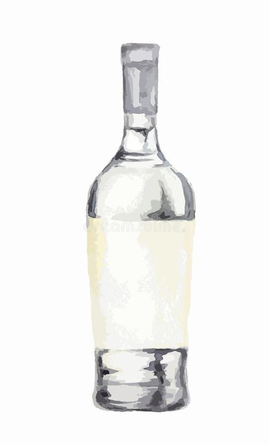 De fles van de waterverfalcoholische drank royalty-vrije illustratie