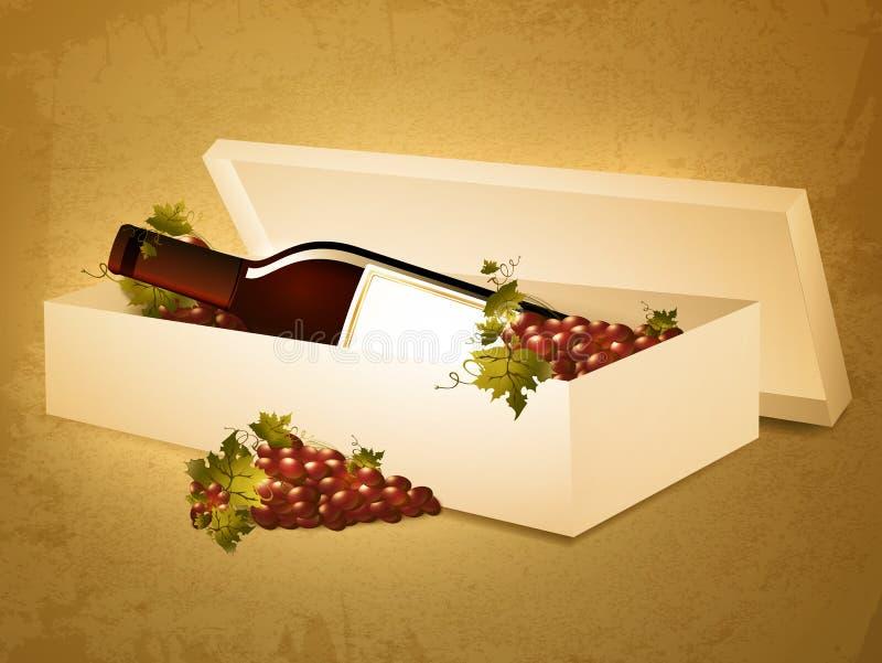 De fles van de wijn in doos stock illustratie
