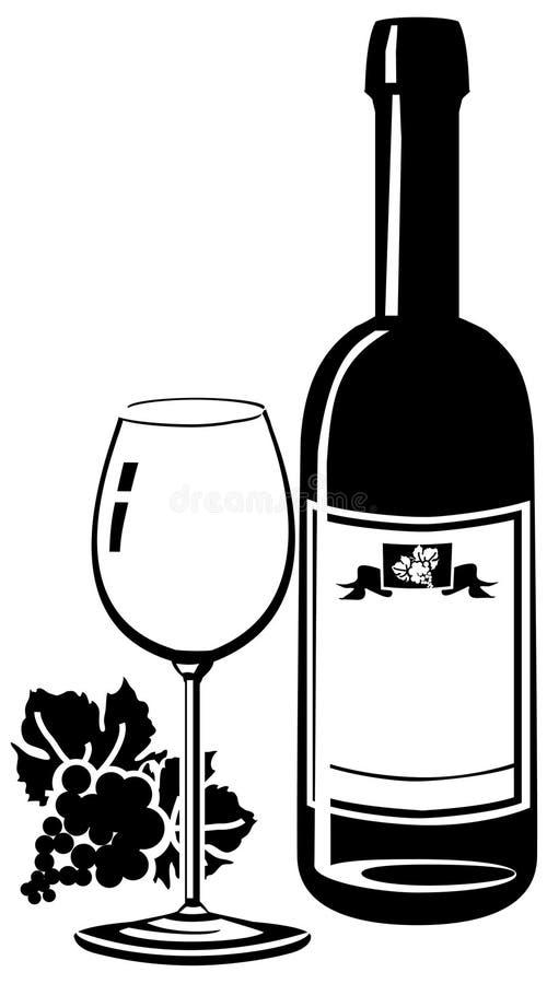 De fles van de wijn met glas royalty-vrije stock foto's