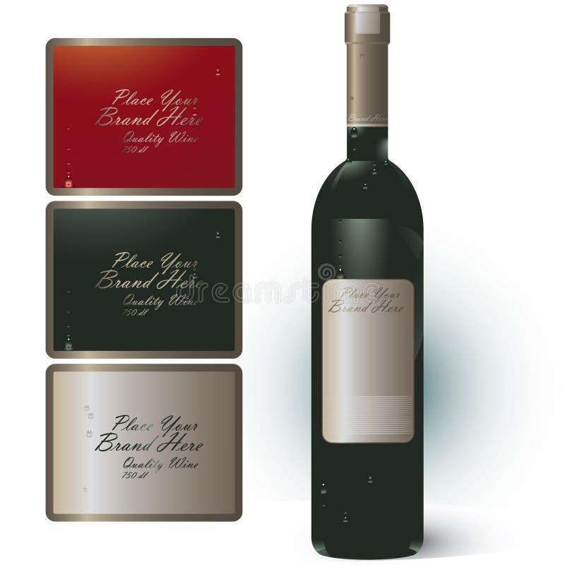 De fles van de wijn met merkbanner royalty-vrije illustratie