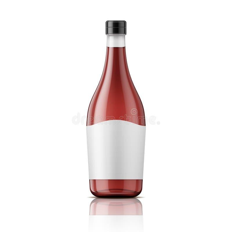 De fles van de wijnazijn met GLB en etiket royalty-vrije illustratie