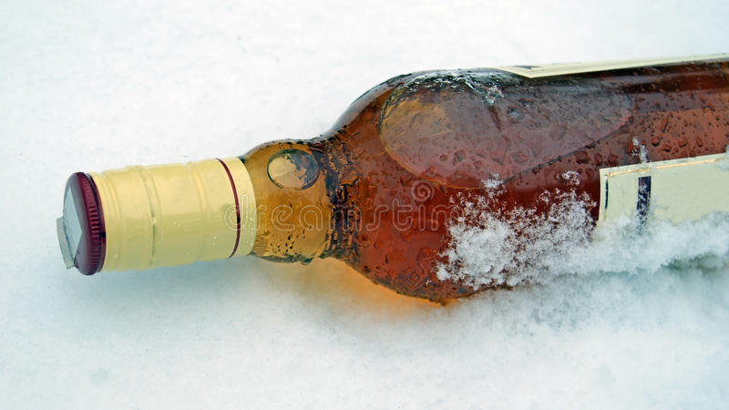 De Fles Van De Wisky In De Sneeuw Royalty-vrije Stock Fotografie