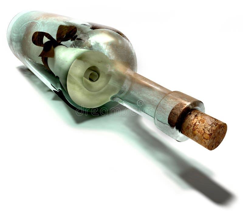 De fles van het bericht stock fotografie