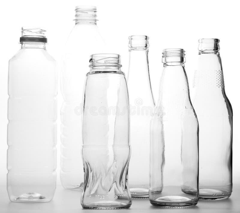 De fles van het glas stock afbeeldingen
