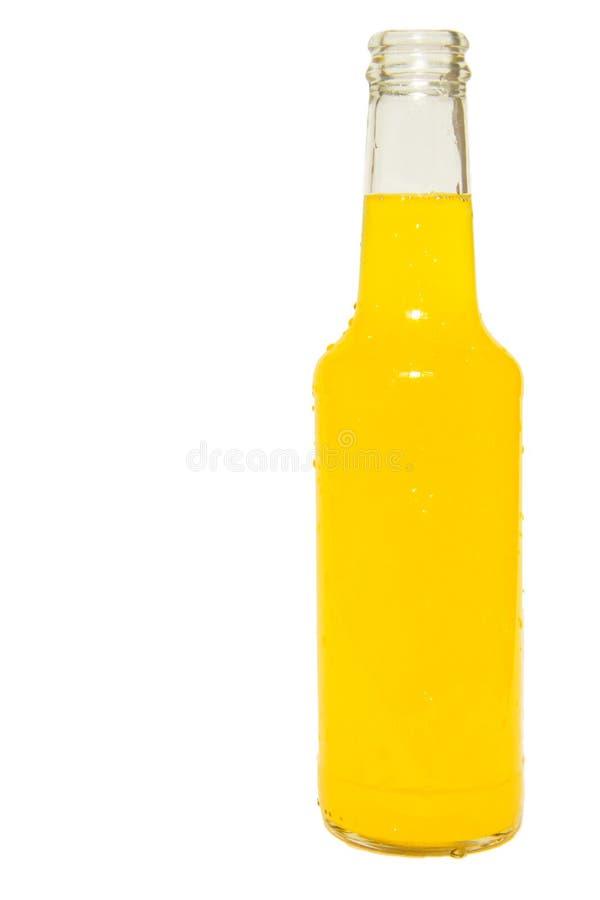 De fles van het glas oranje soda die op wit wordt geïsoleerdr royalty-vrije stock fotografie