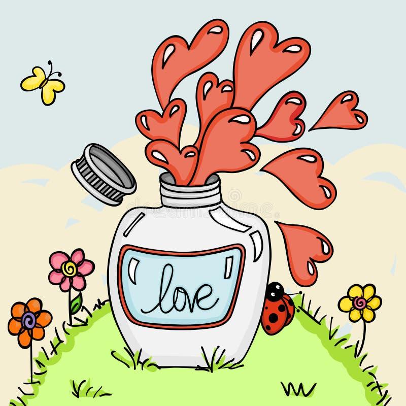 De fles van het liefdedrankje op groene grasachtergrond royalty-vrije illustratie