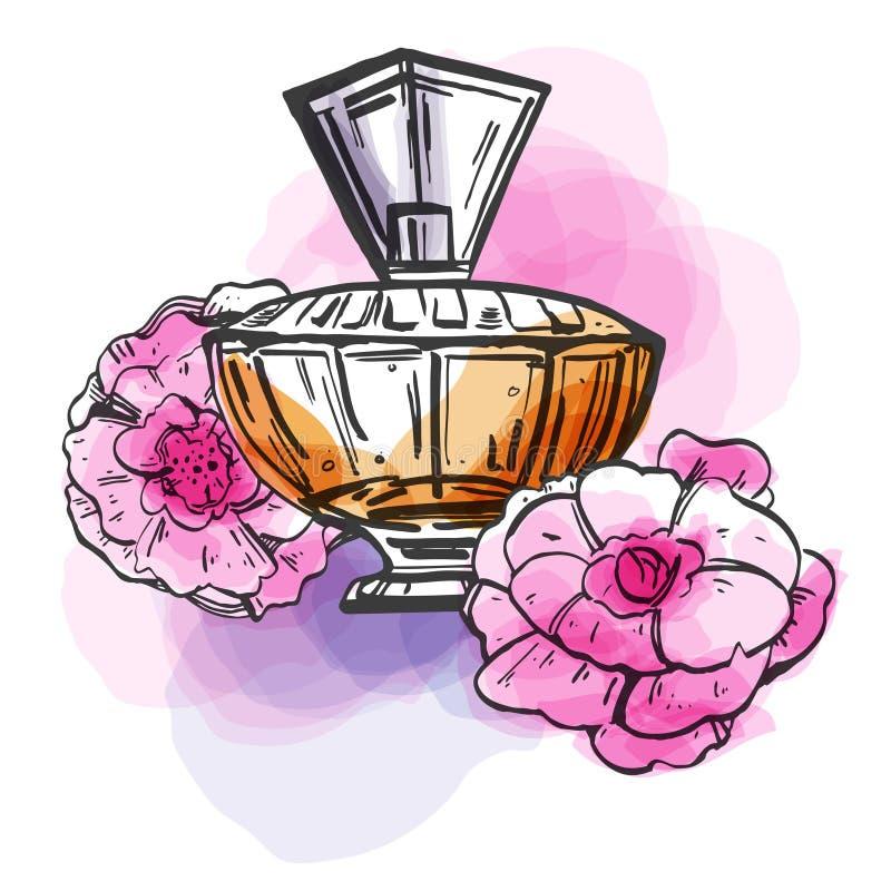 De fles van het schetsoverzicht vrouwelijk parfum met bloemen en kleurrijke vlekken Vector hand getrokken illustratie vector illustratie