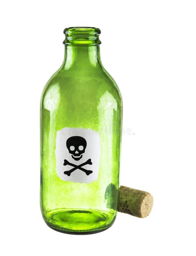 De fles van het vergift op een wit royalty-vrije stock afbeeldingen