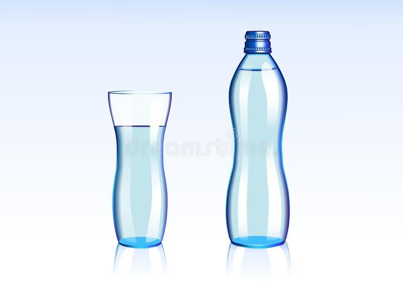 De fles van het water en glasillustratie royalty-vrije stock afbeeldingen