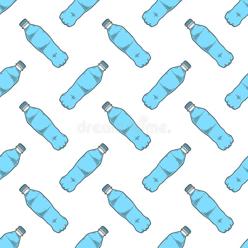 De fles van het water Vectorconcept in krabbel en schetsstijl Hand getrokken illustratie voor druk op T-shirts, prentbriefkaaren stock illustratie