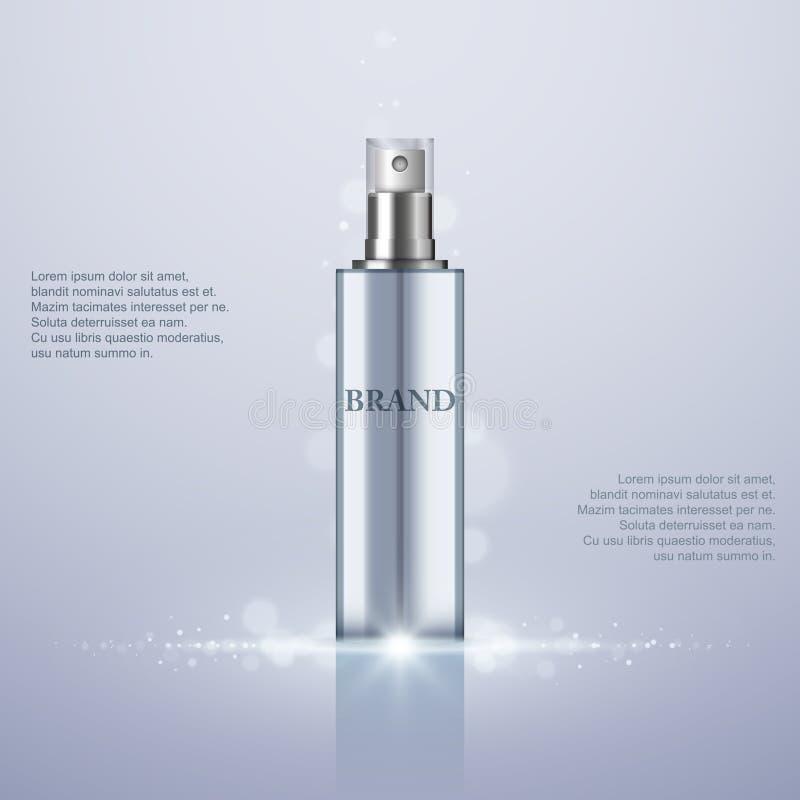 De Fles van de parfumnevel op abstracte achtergrond, vector stock illustratie