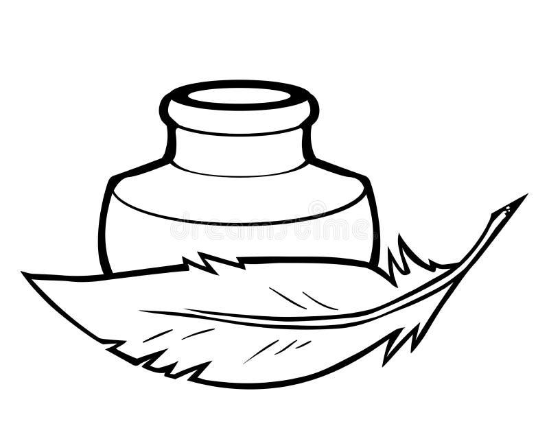 De fles van de veer en van de inkt vector illustratie