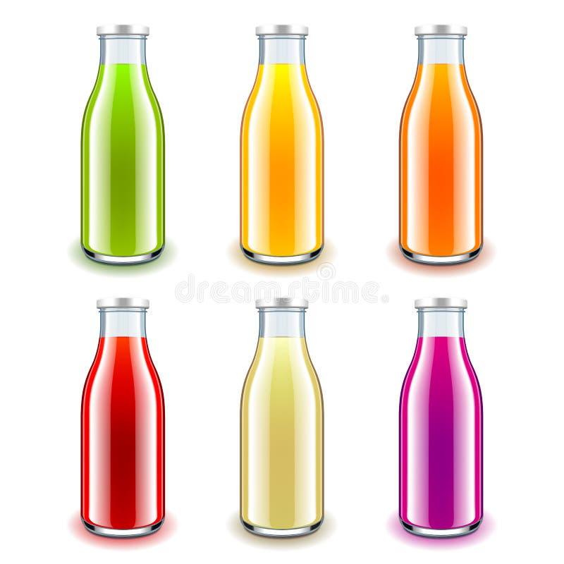 De flessen 3d realistische vectorreeks van het sapglas royalty-vrije illustratie