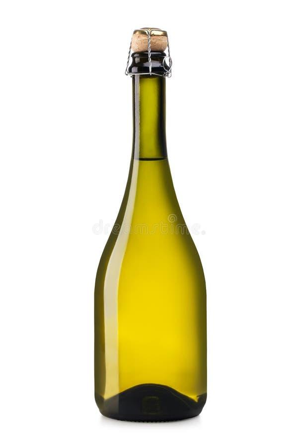 De flessen en het glas van Champagne stock fotografie