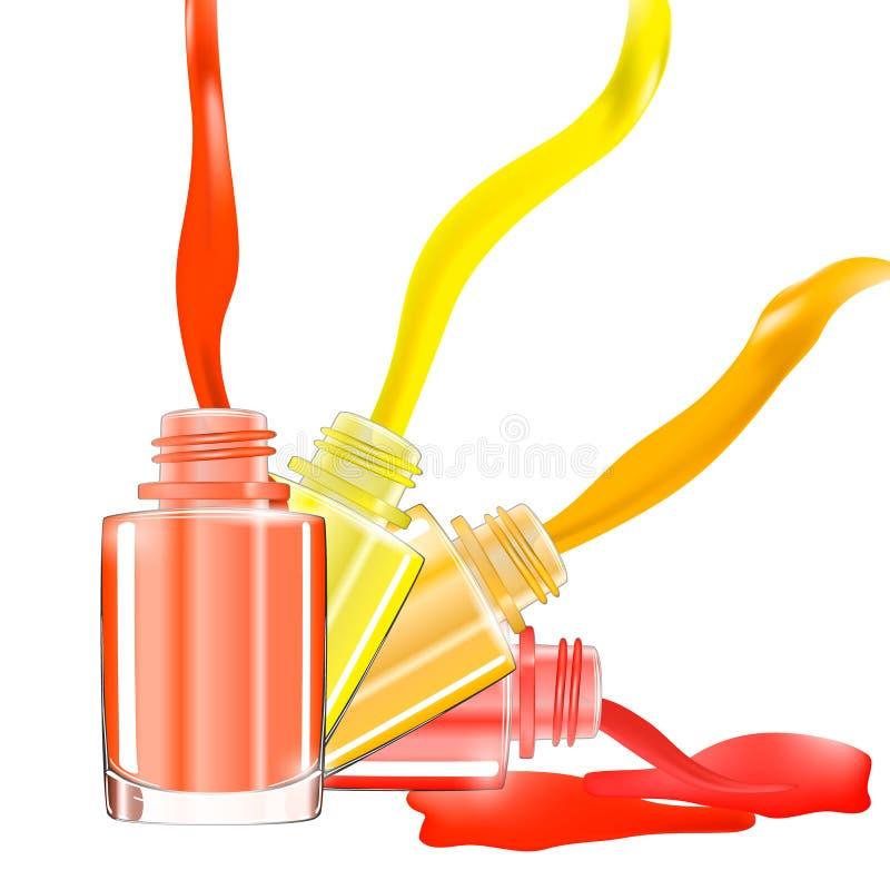 De flessen met gemorst nagellak over witte achtergrond met ploeteren email 3D Illustratie Levendige heldere kleuren: rood, roze,  royalty-vrije illustratie