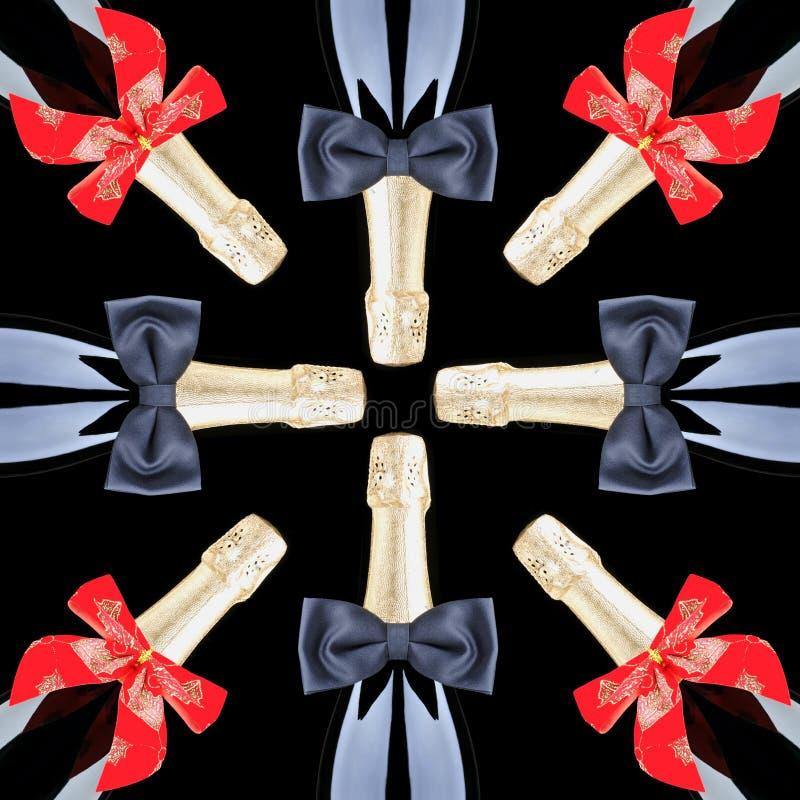De Flessen van Champagne met Rode Bogen en Zwarte Vlinderdassen stock foto's
