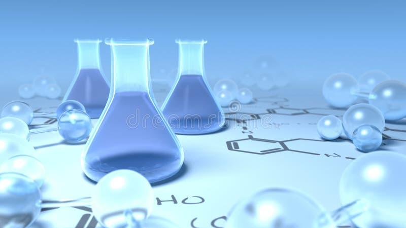 De flessen van Chemisty die met molecules worden omringd royalty-vrije illustratie