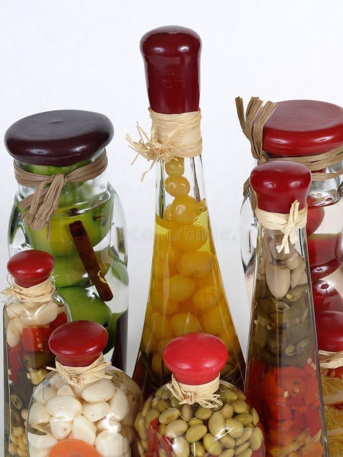 De Flessen van de azijn stock foto