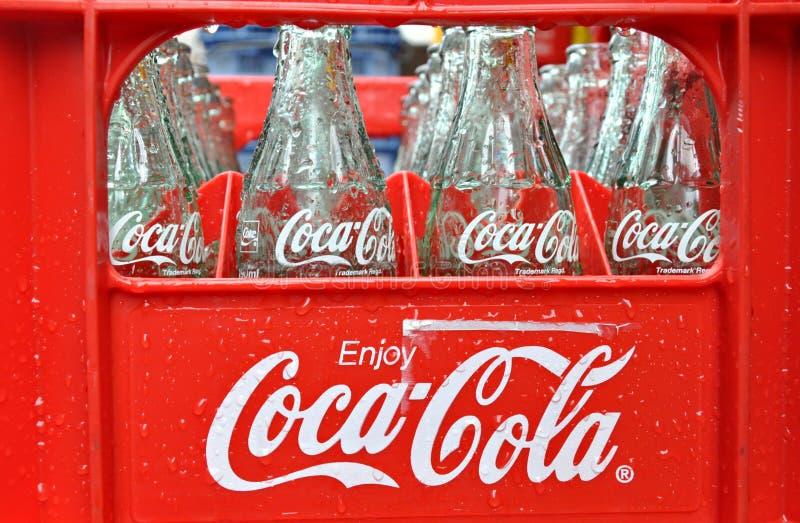 De Flessen van de cokes stock foto