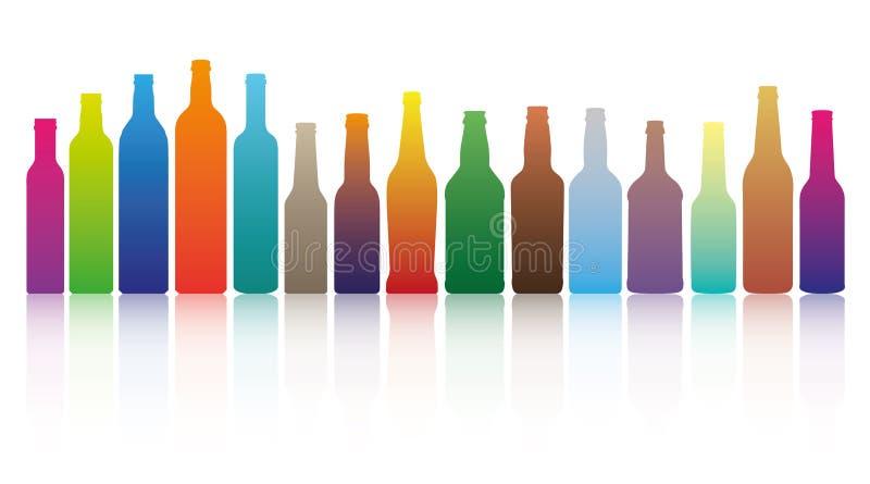 De flessen van de kleur stock illustratie