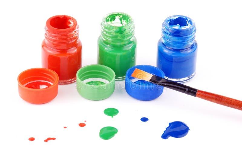 De flessen van de verf stock foto