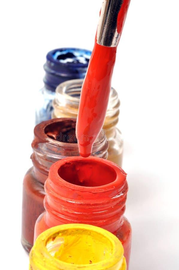 De flessen van de verf royalty-vrije stock fotografie