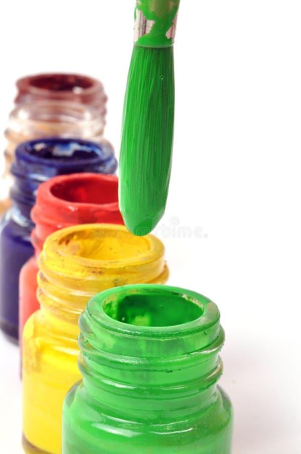 De flessen van de verf stock afbeelding