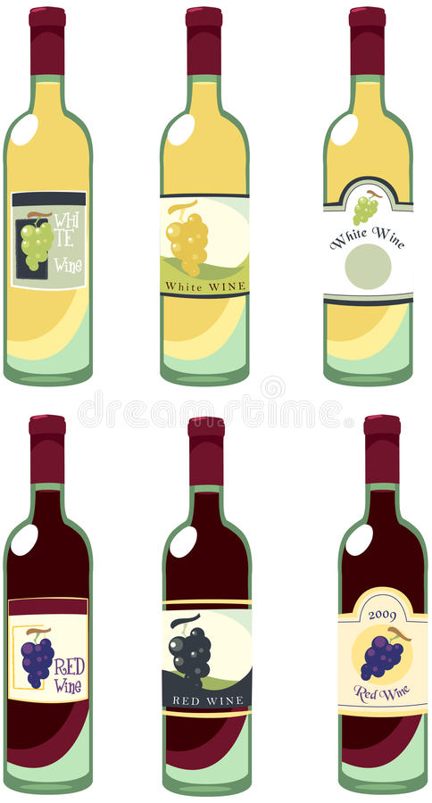 De flessen van de wijn royalty-vrije illustratie
