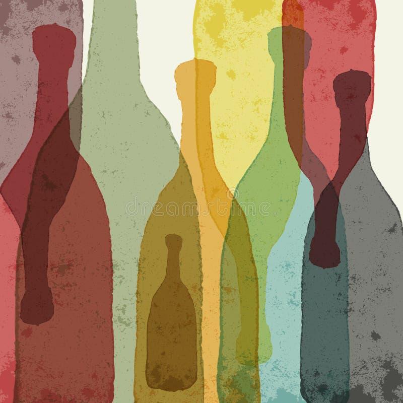 De flessen van de wijn stock illustratie