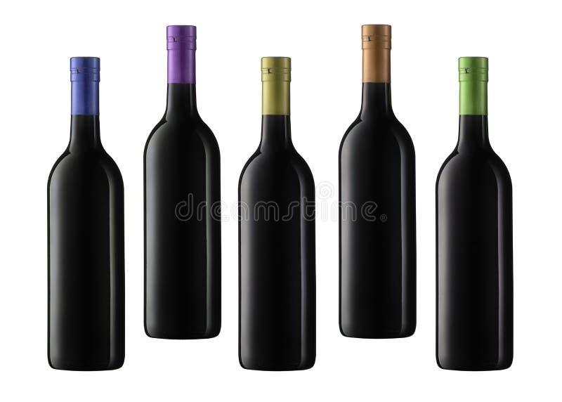 De flessen van de wijn stock foto