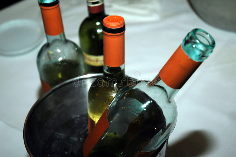 De flessen van de wijn in een koeler in een restaurant royalty-vrije stock afbeelding