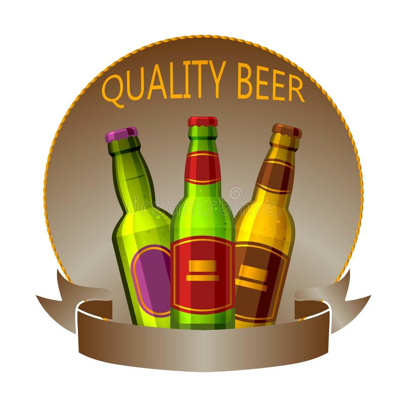 De flessen van het ambachtbier drinken vectorembleemteken of kenteken voor bar, bar, brouwerij of brouwerij Het bier van de premi stock illustratie
