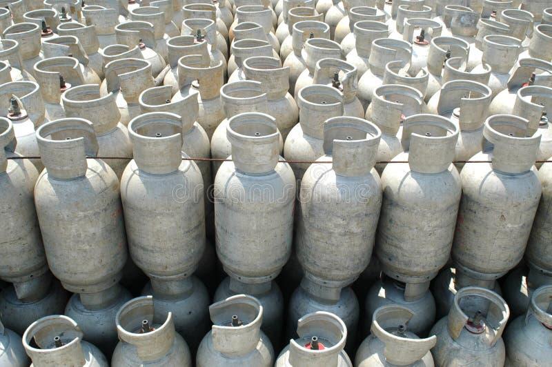 De flessen van het gas stock afbeeldingen