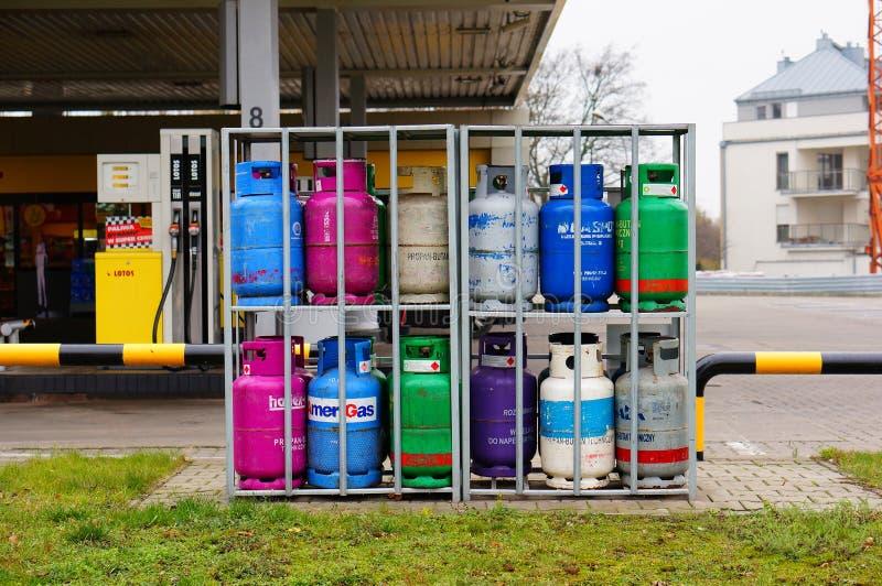 De flessen van het gas royalty-vrije stock fotografie