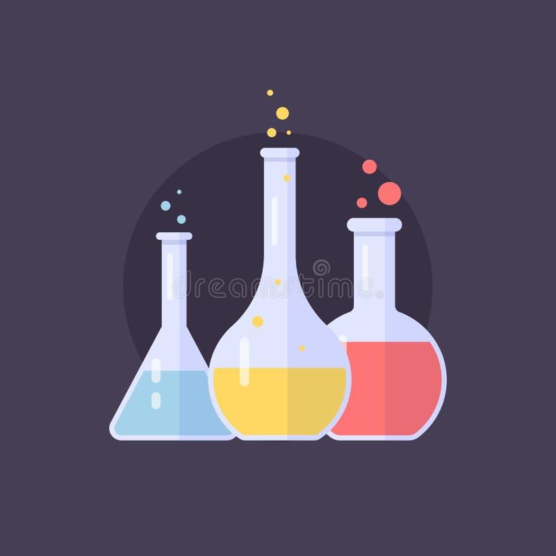 De flessen van het laboratoriumglas en reageerbuizen met blauwe, gele en roze vloeistof Chemische en biologische experimenten vector illustratie