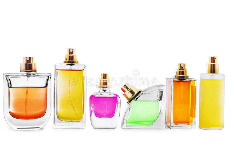De flessen van het parfum stock fotografie