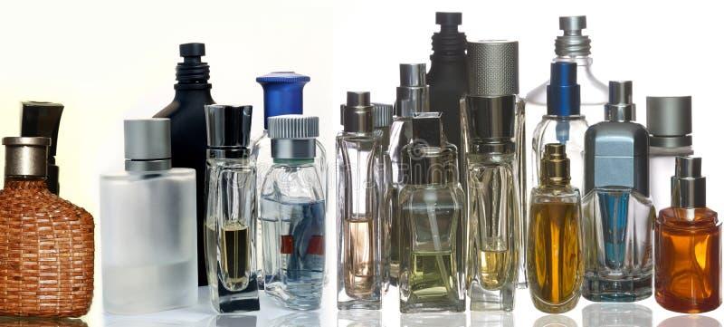 De flessen van het parfum en van de geur stock afbeelding