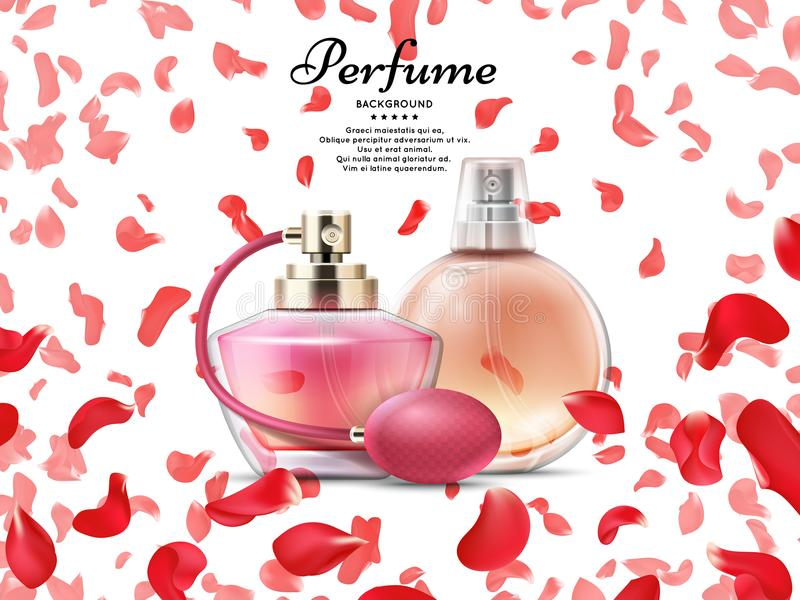 De flessen van het schoonheidsmiddelenparfum met roze bloemblaadjes van roze achtergrond vector illustratie