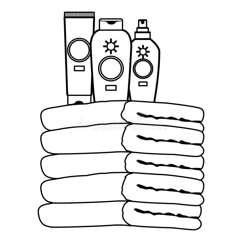 De flessen van zonbronzers op handdoeken omhoog in zwart-wit worden opgestapeld die stock illustratie