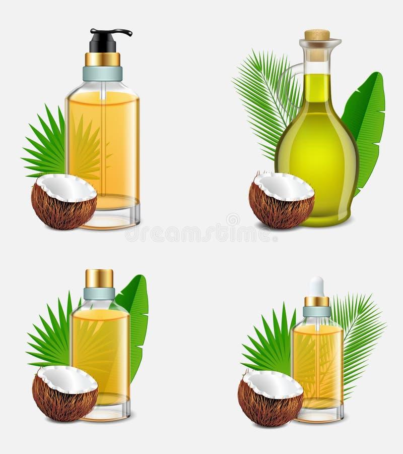 De flessen vastgestelde vector realistische illustratie van de kokosnotenolie stock illustratie