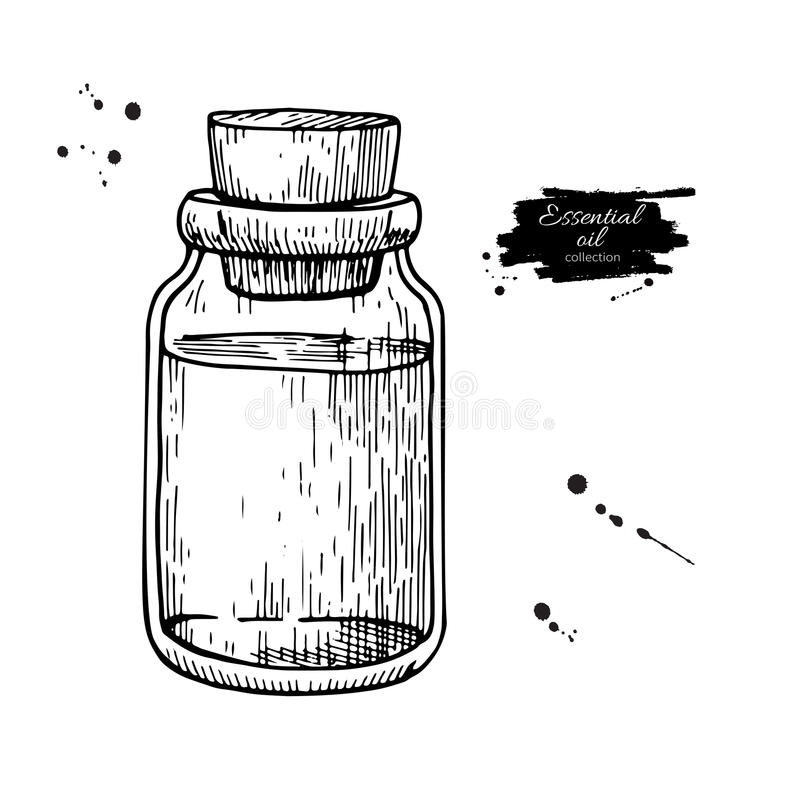 De flessenhand getrokken vectorillustratie van het etherische olieglas Geïsoleerde tekening voor Aromatherapy-behandeling, altern vector illustratie