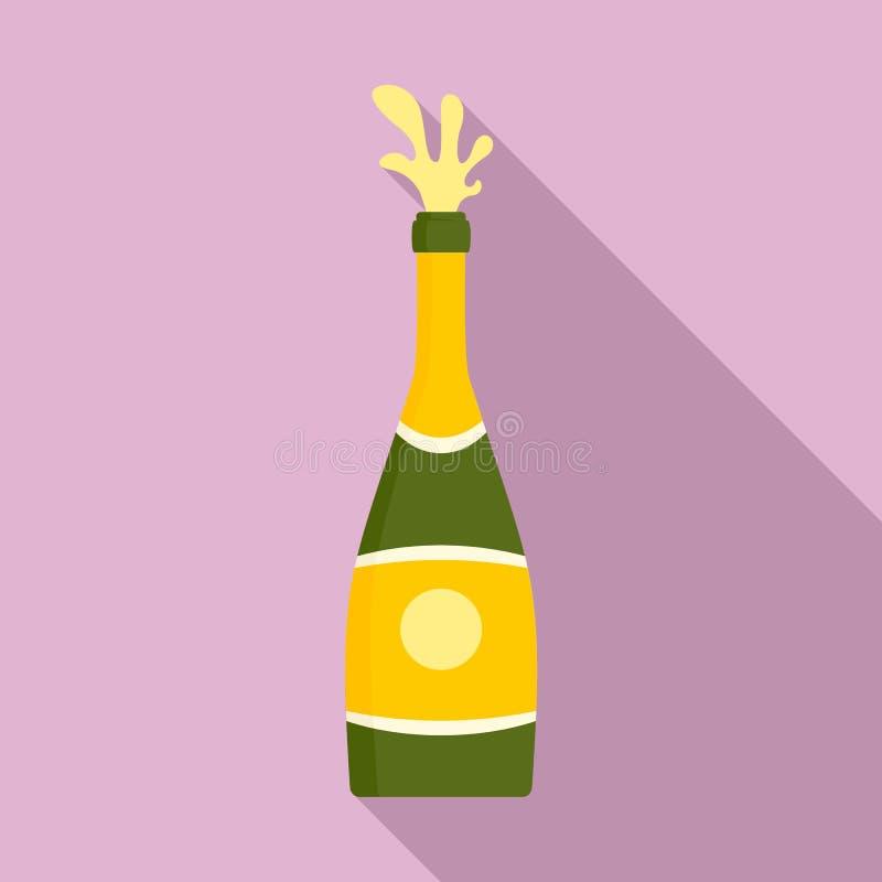 De flessenpictogram van de plonschampagne, vlakke stijl royalty-vrije illustratie