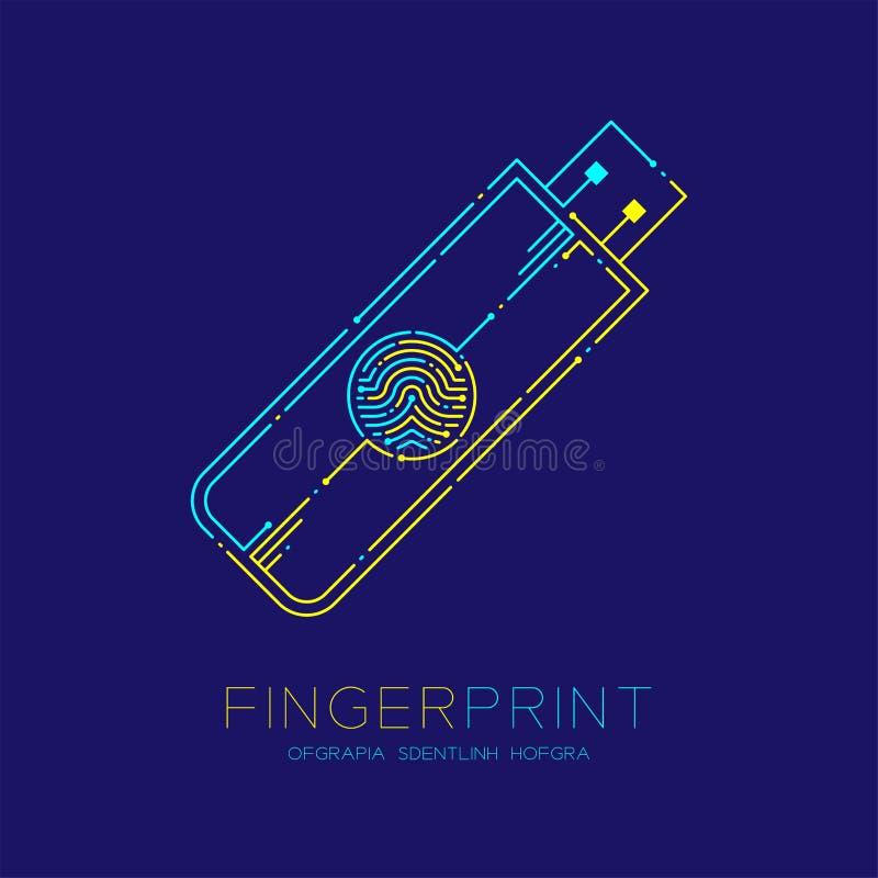 De flits of usb drijft van het het patroonembleem van de vormvingerafdruk blauwe het streepjelijn, Gadgetconcept, Editable-slagil vector illustratie