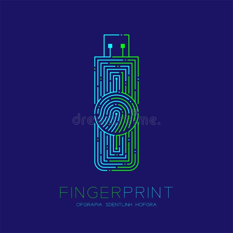 De flits of usb drijft van het het patroonembleem van de vormvingerafdruk het streepjelijn, Gadgetconceptontwerp, Editable-blauw  stock illustratie