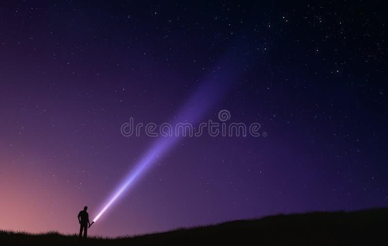 De flitslicht van de nachthemel royalty-vrije stock afbeeldingen